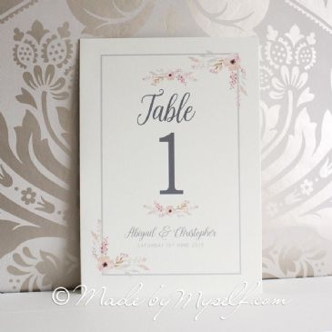 Floral Circle Table Number